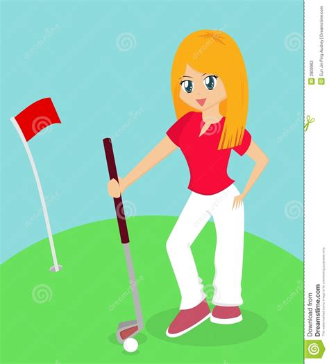Girl Playing Golf stock vector. Illustration of lady ... Women's Golf Cartoons Clip Art