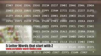 scrabble word starting with z 5 letter words that start with z