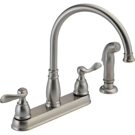 2 kitchen faucet delta windemere 2 handle standard kitchen faucet with side sprayer in stainless 21996lf ss the