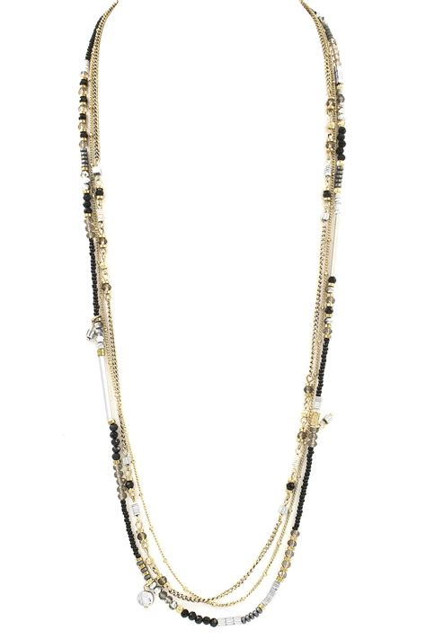 bead chain layered glass seed bead chain necklace necklaces