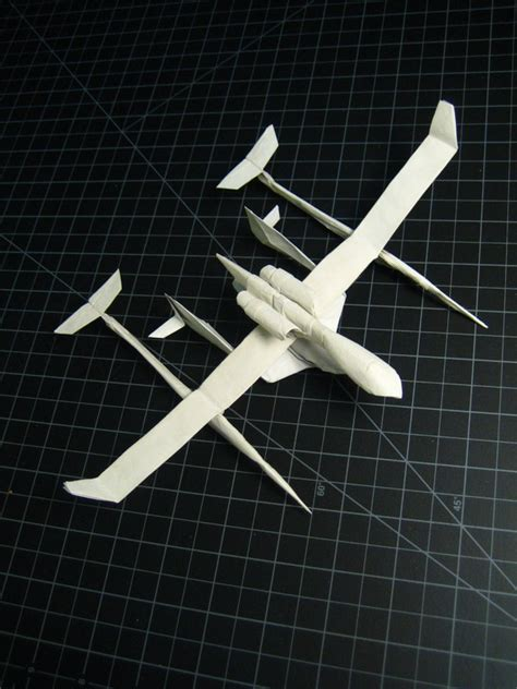 origami space ship spaceship one and white