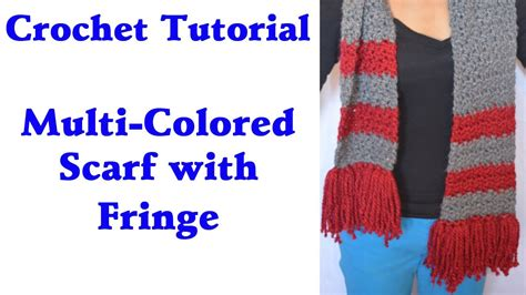 how to add tassels to a knitted scarf crochet tutorial easy multi colored warm scarf