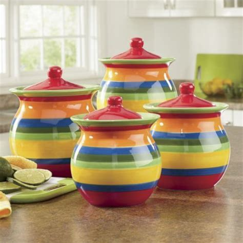 colorful kitchen canisters 4 multistripe canister set from through the country