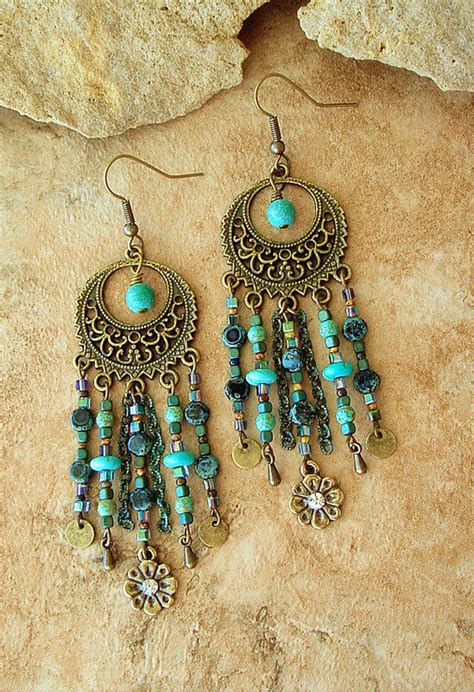 how to make hippie jewelry boho chandelier earrings turquoise from bohostyleme boho