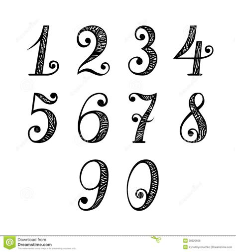 set of vintage numbers stock vector image 38920608
