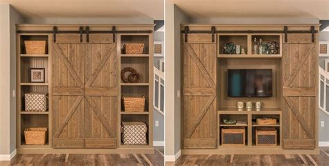 entertainment cabinets with doors open the barn doors for an entertainment center and