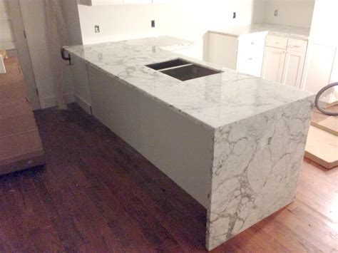 Waterfall Counter Artistic Stone Kitchen And