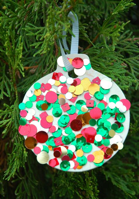 ornament craft for sequin ornaments what can we do with paper and glue