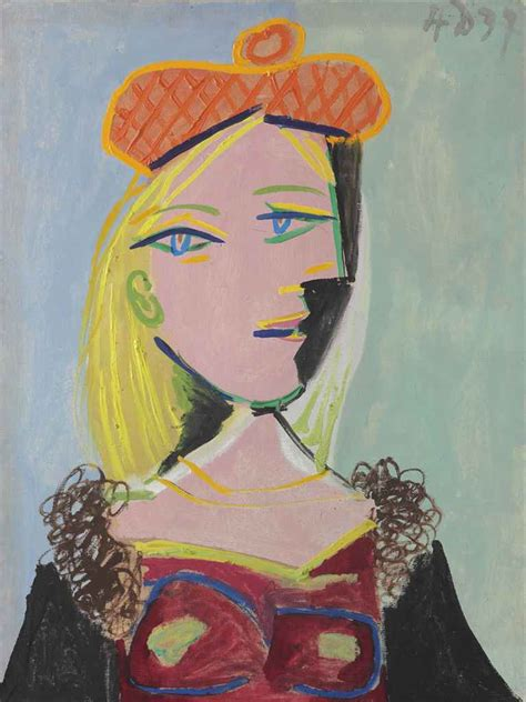 picasso paintings of therese pablo picasso 1881 1973 femme au b 233 ret orange et au