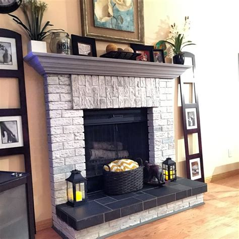 diy chalk paint fireplace whitewashed fireplace brick painted the mantle with