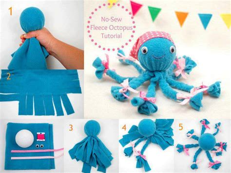 no sew craft projects no sew fleece octopus tutorial octopus crafts craft and eye