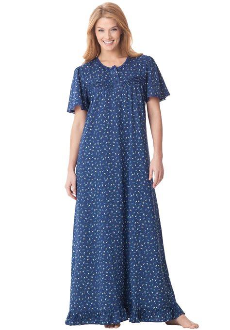Cotton Knit Gown By Dreams Co 174 Plus Size