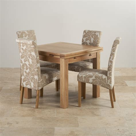 dining room sets with fabric chairs dorset oak dining set 3ft table with 4 beige chairs