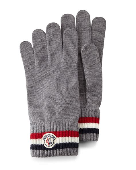 knit gloves moncler logo striped knit gloves in gray lyst