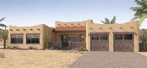 Pueblo Style Ranch Home adobe style house plan with icf walls 6793mg