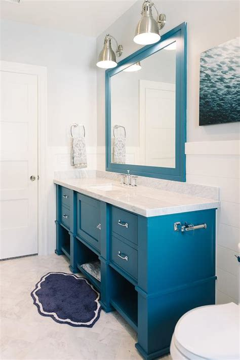 blue vanity bathroom blue bathroom vanity with blue mirror cottage