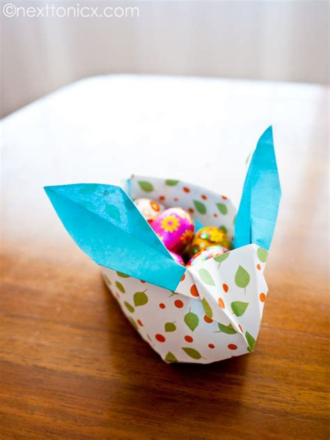 origami easter bunny basket origami easter bunny basket next to nicx