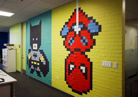 Superman Wall Mural office installs giant superhero mural made with 8 024 post