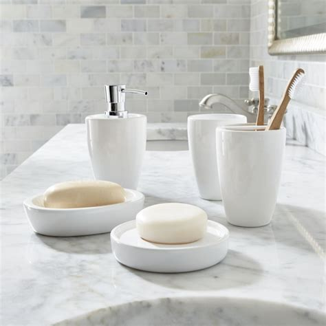 accessories for small bathrooms white bathroom accessories crate and barrel