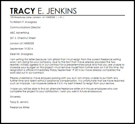 independent contractor resignation letter livecareer