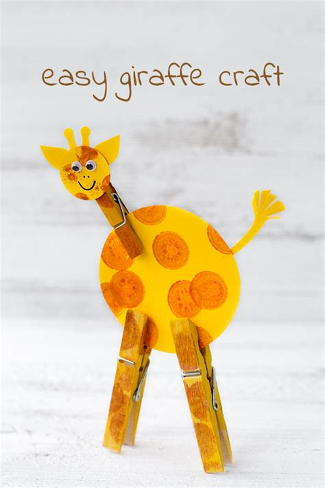 kid and craft easy giraffe craft for