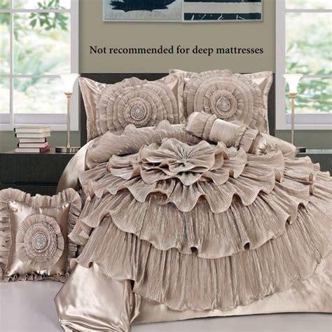 rosette comforter set ruffled chagne rosette comforter bed set home