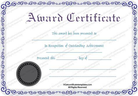 blank award templates silver award certificate template get certificate templates