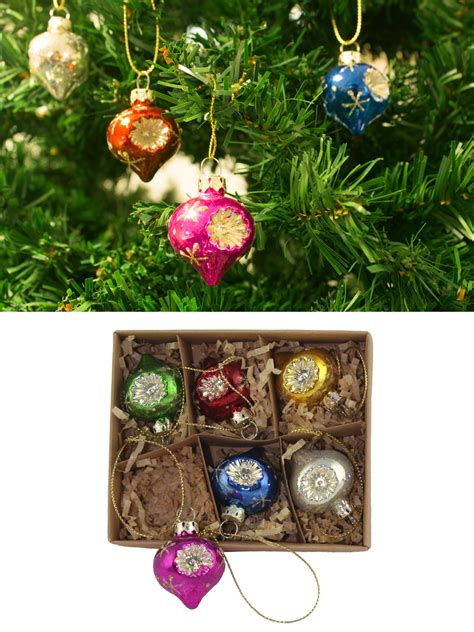 tree decorations sets gisela graham glass tree decoration set mini