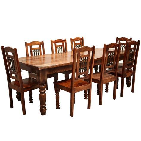 Discount Dining Room Furniture rustic furniture solid wood large dining table amp 8 chair set