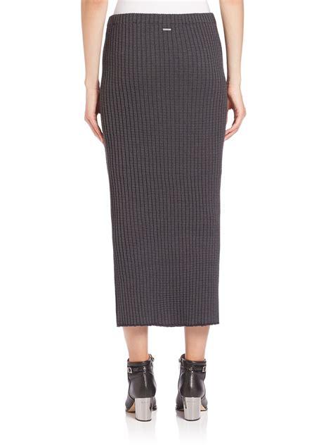 knit pencil skirts wes gordon rib knit pencil skirt in gray lyst