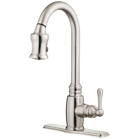 danze kitchen faucets danze opulence single handle pull sprayer kitchen faucet in stainless steel d454557ss the