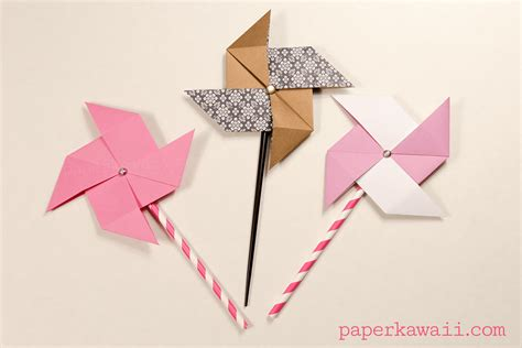 origami for traditional origami pinwheel tutorial paper kawaii