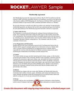user agreement for online community website terms template