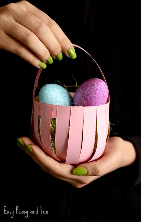craft paper basket diy easter paper basket craft easy peasy and