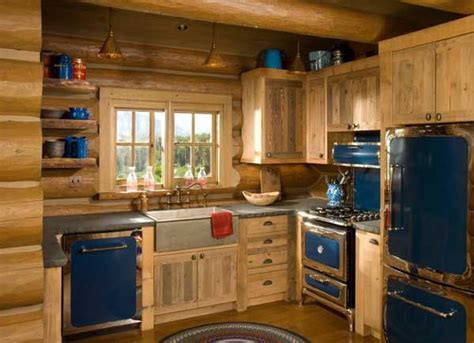 cabin kitchen designs rustic kitchen the blue retro appliances with the