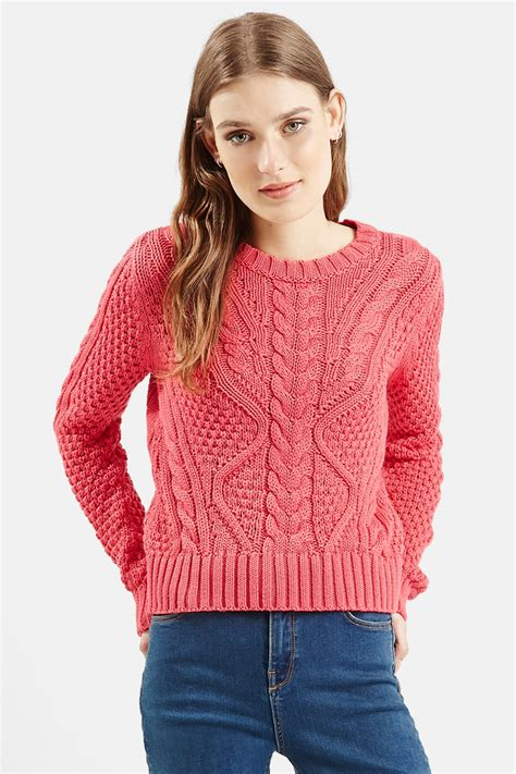 knit sweaters for juniors topshop cable knit crop sweater juniors in pink lyst