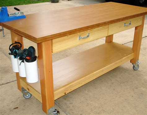 workbench plans white rolling workbench with quot drill holders quot diy