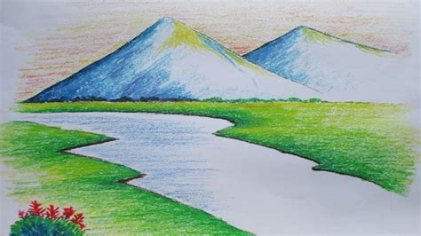 landscapes to draw beginners mountain landscape drawing with pastel