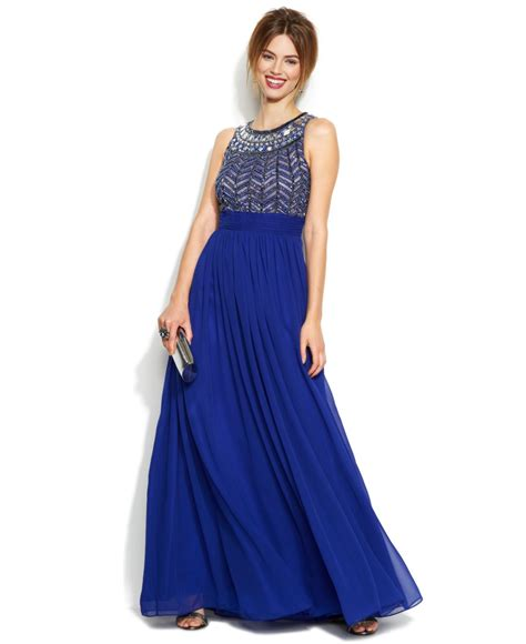 js collections beaded gown js collections sleeveless beaded empire waist gown in blue