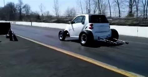 V8 Smart Car by Drag Footage Of A Smart Car Powered By A Big Block Chevy