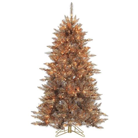frasier fir artificial tree sterling 5 ft pre lit layered copper and silver frasier