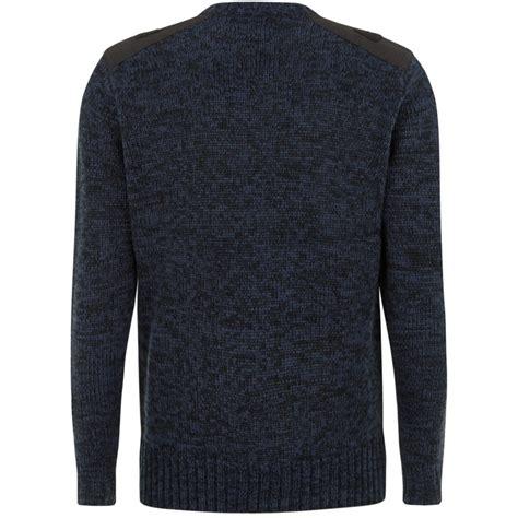 blue knitted jumper mens mens blue black knitted catcher panel crew neck jumper
