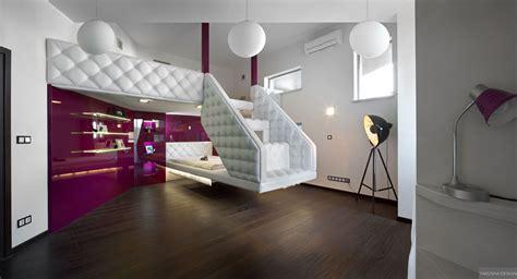 split bedroom design split level plush futuristic retro bedroom in white and