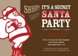 holiday party invitations secret santa party by mixbook