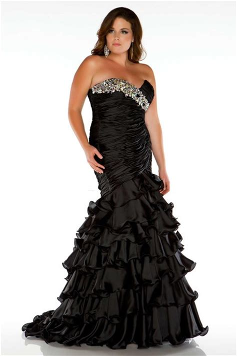 plus size beaded cocktail dresses formal mermaid strapless black ruffles beaded plus