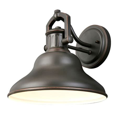 home depot outdoor wall lighting hton bay 1 light rubbed bronze outdoor wall lantern