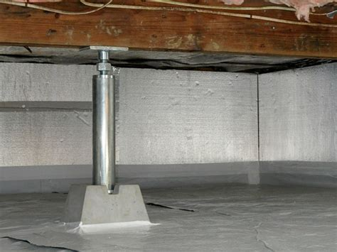 basement support posts crawl space jacks installed by authorized foundation