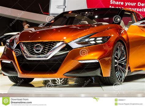 Bright Orange Car by Nissan Concept Sports Sedan Editorial Photography Image