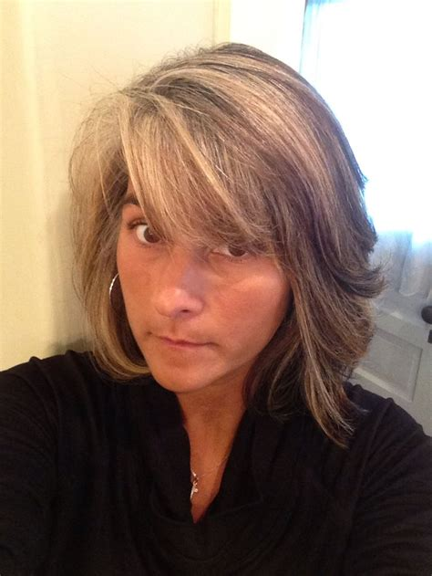 high lighted hair with gray roots transition to gray after 5 months blonde highlights to