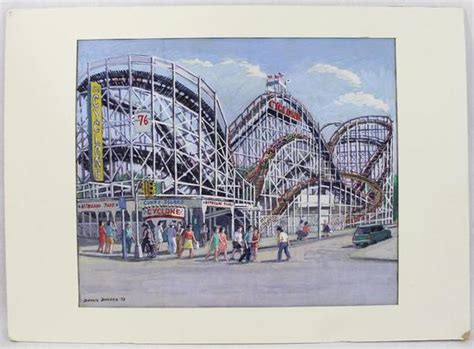 paint island new york signed gouache watercolor painting coney island cyclone